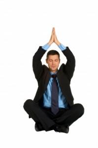 man practicing stress management using yoga